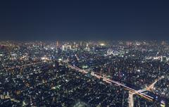 Night cityscape high above Tokyo, Japan from atop the Tokyo Skytree Stock Photos