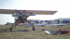 Vintage aircraft on the flying field Stock Footage