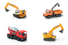 Mix toy construction transport collection set. Stock Photos