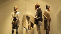 Mannequins In Fashion Clothes Shop Stock Footage