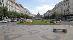 Beautiful garden arrangement at Wenceslas Square, Prague Stock Footage