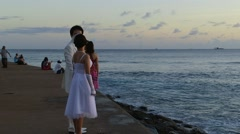 Wedding Couple Waikiki, Honolulu, Hawaii, Ala Moana Stock Footage