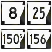 Collection of numbered road signs used in Arkansas, USA Stock Illustration