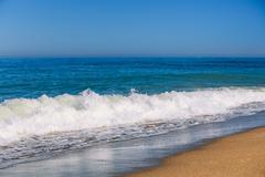 Soft Sea Ocean Waves Splash Background. White foam - stock photo