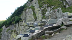 Mountain symbolic cemetery dedicated to the victims of the mountains - stock footage