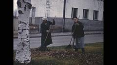 Vintage 16mm film, 1959, Finland, Helsinki people b-roll Stock Footage