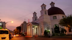 TIMELAPSE Evening traffic before Blenduk church,Semarang,Java,Indonesia Stock Footage