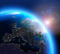 City lights in Europe seen from space Stock Illustration