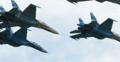 4K Stock Footage Flanker Fighter Aircraft Group Aerobatics - stock footage