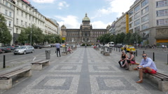 Resting in Wenceslas Square, near the Monument of St. Wenceslas, Prague Stock Footage
