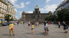 Tourists visiting the Monument of St. Wenceslas, Prague Stock Footage