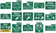 Stock Illustration of Collection of direction signs used in the USA