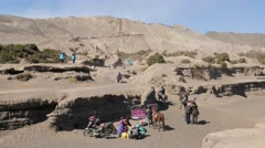 TIMELAPSE Tourists going to Bromo caldera,Bromo,Java,Indonesia Stock Footage