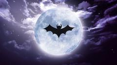 Bat shadow at white moon Stock Illustration