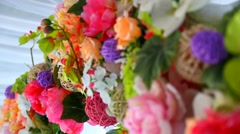 Beautiful details of place for outside wedding ceremony. Wedding floral decor. C Stock Footage
