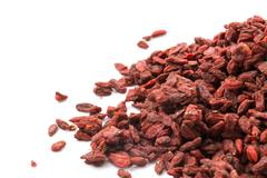 goji berries isolates on white background - stock photo