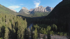Aerial rocky mountain and valley 4k Stock Footage