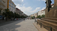 Adults and babies walking in Wenceslas Square in Prague Stock Footage