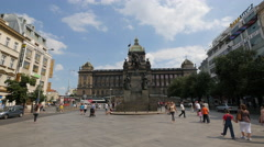St. Wenceslas Monument, a beautiful equestrian statue in Prague Stock Footage