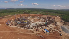 aerial view of building a football stadium - stock footage