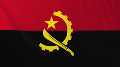 Flag of Angola waving in the wind, seemless loop animation - stock footage