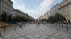 Wenceslas Square - centre of the business and cultural communities in Prague Stock Footage