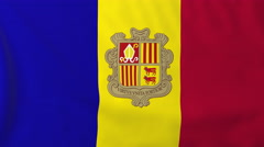 Flag of Andorra waving in the wind, seemless loop animation - stock footage