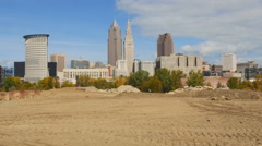 Skyline of Cleveland, Ohio with construction site in the foreground. - stock footage
