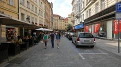 Walking on Melantrichova street in Prague Stock Footage