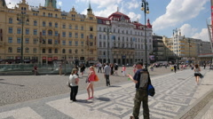 Walking in thRepublic square, near Hotel Kings Court and other buildings, Prague Stock Footage