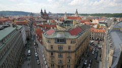 Pachtovsky Palace seen from Powder Tower in Prague Stock Footage