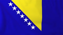Flag of Bosnia/Herzegovina waving in the wind, seemless loop animation - stock footage