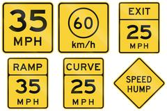 Collection of advisory speed signs used in the USA - stock illustration