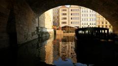 Karlovy lazne and other buildings on a bank of Vltava River, Prague Stock Footage