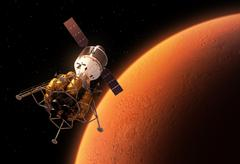 Interplanetary Space Station Orbiting Red Planet - stock illustration
