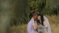 Wedding Couple On Nature Stock Footage