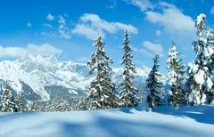 Winter Alp mountain landscape Stock Photos