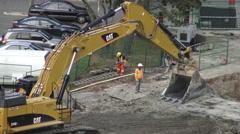 Excavator Leveling Ground Stock Footage