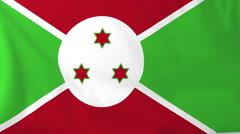 Flag of Burundi waving in the wind, seemless loop animation Stock Footage