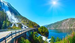 Summer Langfossen waterfall  (Norway). - stock photo