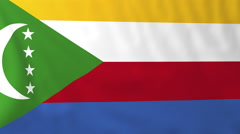 Flag of Comoro Islands waving in the wind, seemless loop animation - stock footage