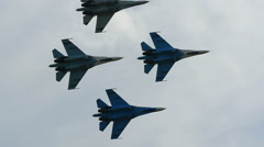FLanker Fighter Aircraft Aerobatics Group Slow Mo - stock footage