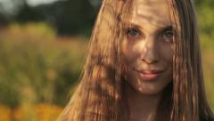The Shadow Falls On The Woman's Face - stock footage