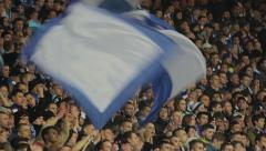Fans wave flags at the stadium. People, crowd, football fans - stock footage