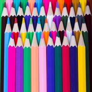 Color pencils background. close up of pencil color Stock Photos