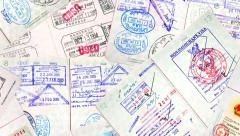 International Travel Passport Stamps. Stock Footage
