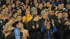 fans ultras in the stadium. People, crowd, football fans - stock footage