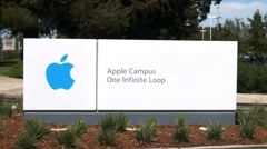 Apple headquaters sign Stock Footage