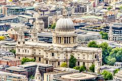 Aerial View of St Paul Cathedral, London - stock photo