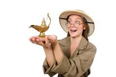 Woman wearing safari hat on white Stock Photos